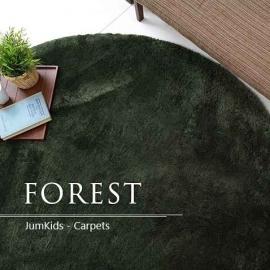 Круглый зелёный пушистый ковёр с мягким ворсом JumKids Sweet Forest
